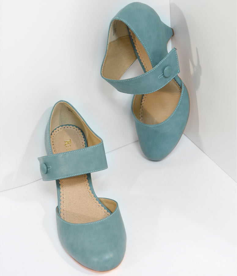 Vintage Style Dusty Blue Mary Jane Heels