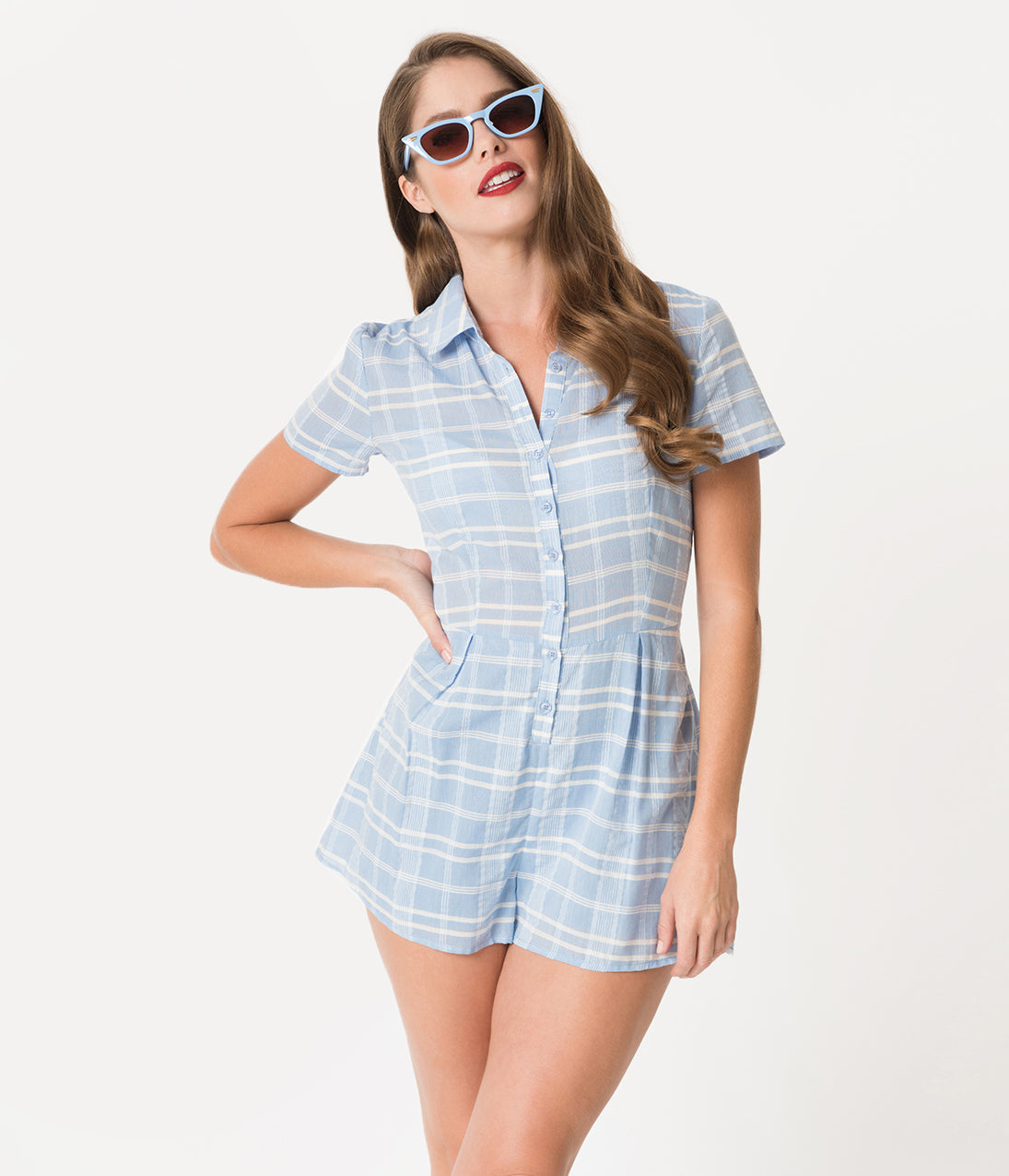 Vintage Rompers | Retro, Pin Up, Rockabilly Playsuits Retro Style Light Blue  White Plaid Cotton Jack Romper $58.00 AT vintagedancer.com
