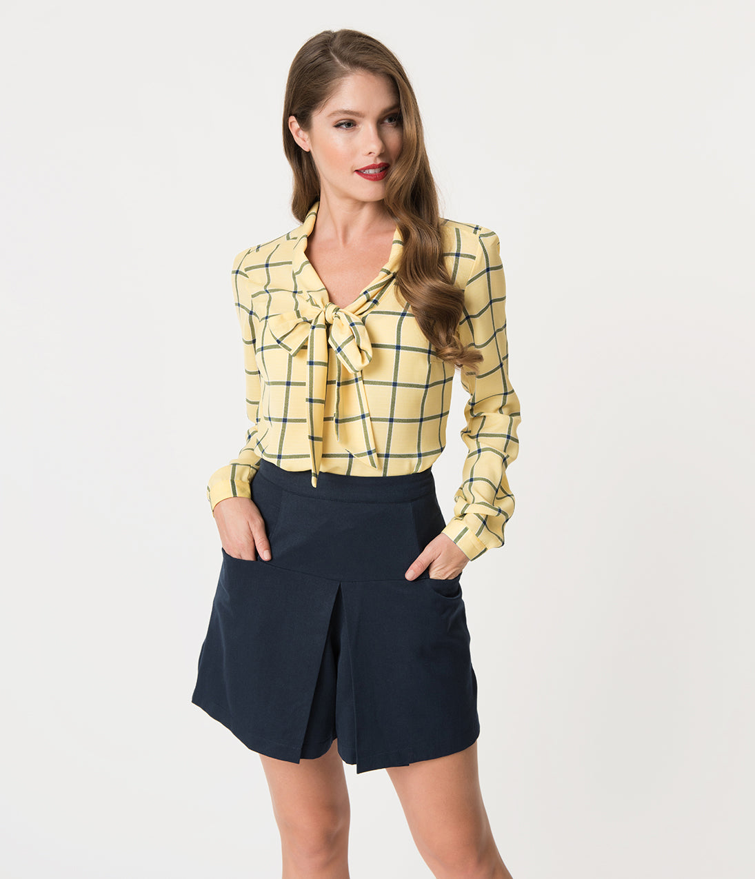 60s Shirts, T-shirt, Blouses | 70s Shirts, Tops, Vests Yellow  Navy Checkered Long Sleeve Woven Blouse $38.00 AT vintagedancer.com