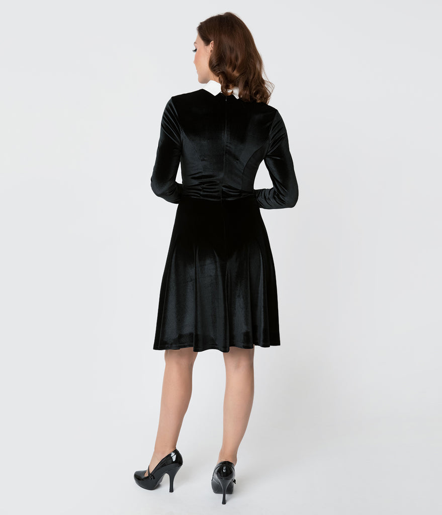 Unique Vintage Black Velvet Long Sleeved Wednesday Flare Dress