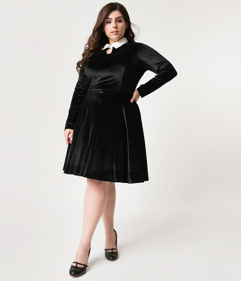 Unique Vintage Plus Size Black Velvet Long Sleeved Wednesday Flare Dress