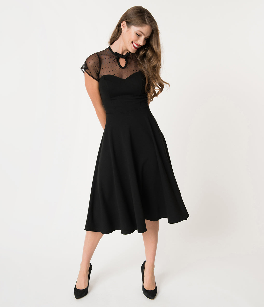 Dress Like the Marvelous Mrs. Maisel Unique Vintage 1940S Style Black Swiss Dotted Mesh Heather Midi Dress $98.00 AT vintagedancer.com