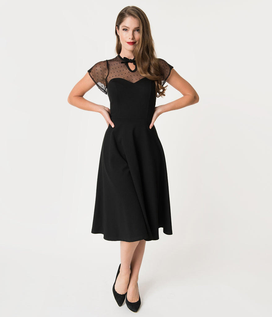 Unique Vintage 1940s Style Black Swiss Dotted Mesh Heather Midi Dress