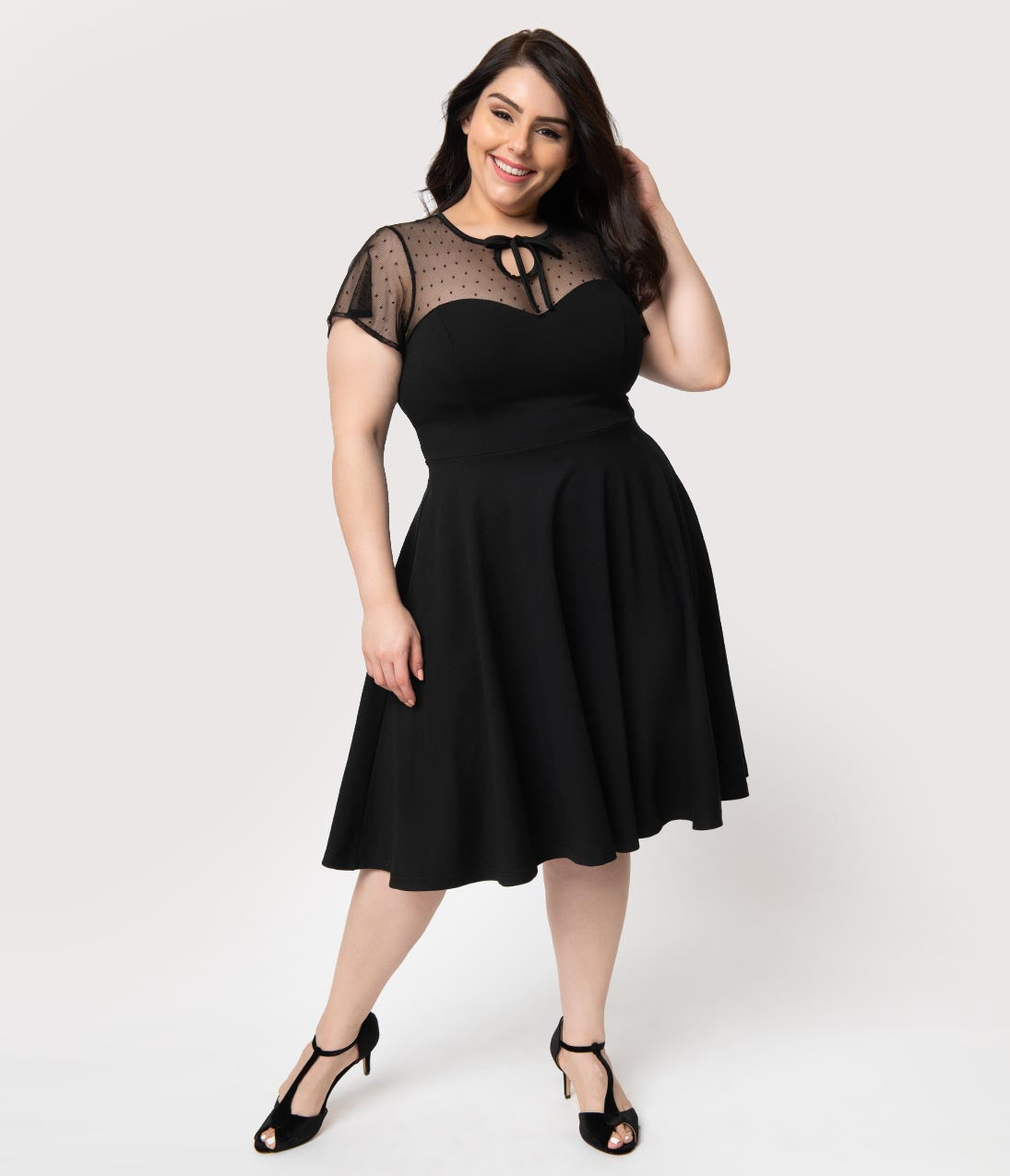 Swing Dance Clothing You Can Dance In Unique Vintage Plus Size 1940S Style Black Swiss Dotted Mesh Heather Midi Dress $98.00 AT vintagedancer.com