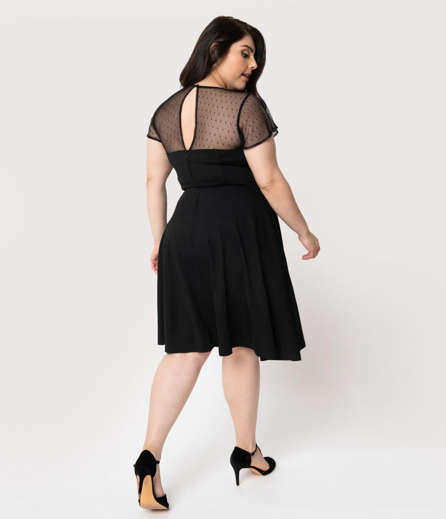 Unique Vintage Plus Size 1940s Style Black Swiss Dotted Mesh Heather Midi Dress