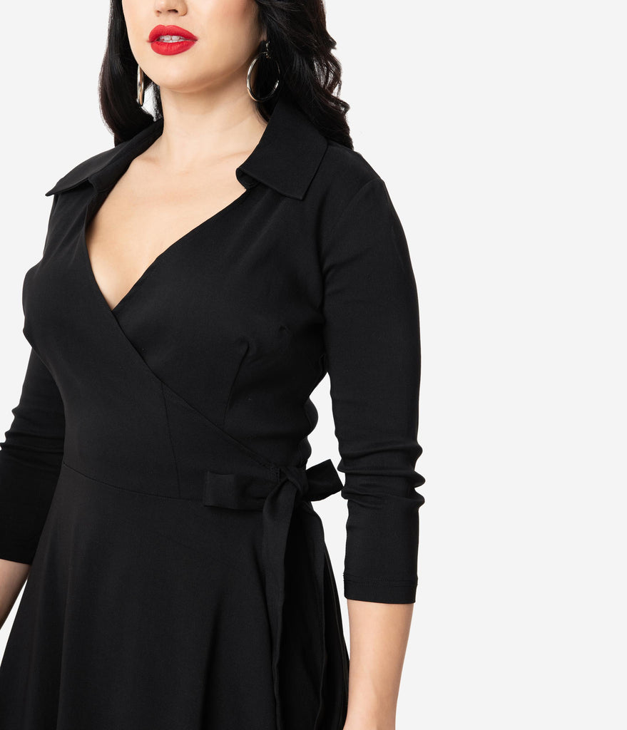 Unique Vintage 1950s Style Black Stretch Sleeved Anna Wrap Dress