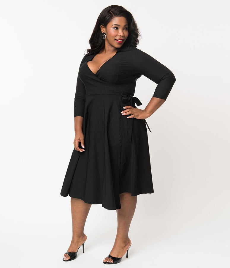 Unique Vintage Plus Size 1950s Style Black Stretch Sleeved Anna Wrap Dress 82fb5751e