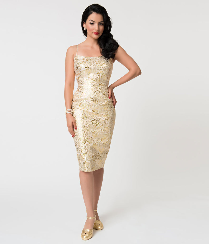 Barbie x Unique Vintage Golden Girl Brocade Sheath Dress
