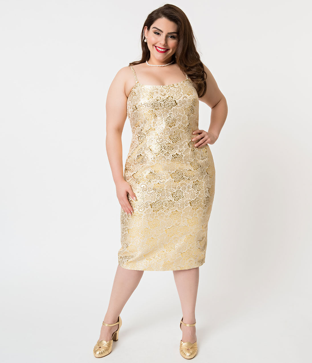 1950s Plus Size Dresses, Swing Dresses Barbie X Unique Vintage Plus Size Golden Girl Brocade Sheath Dress $118.00 AT vintagedancer.com