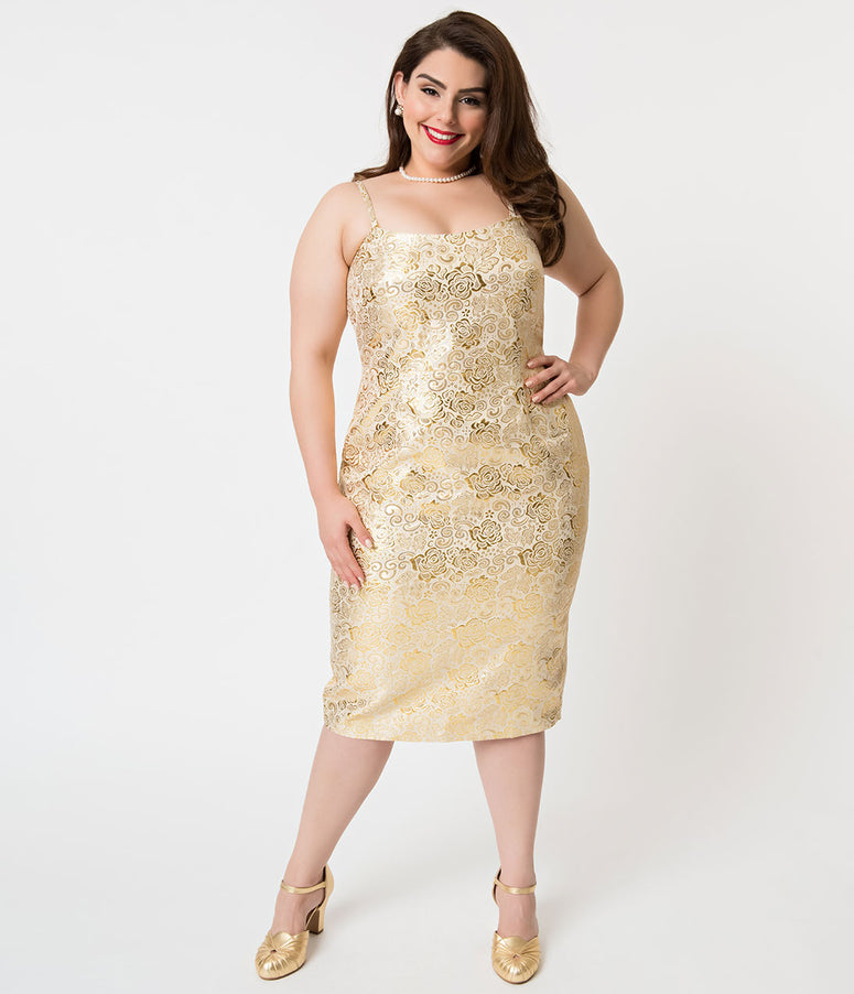 Barbie x Unique Vintage Plus Size Golden Girl Brocade Sheath Dress
