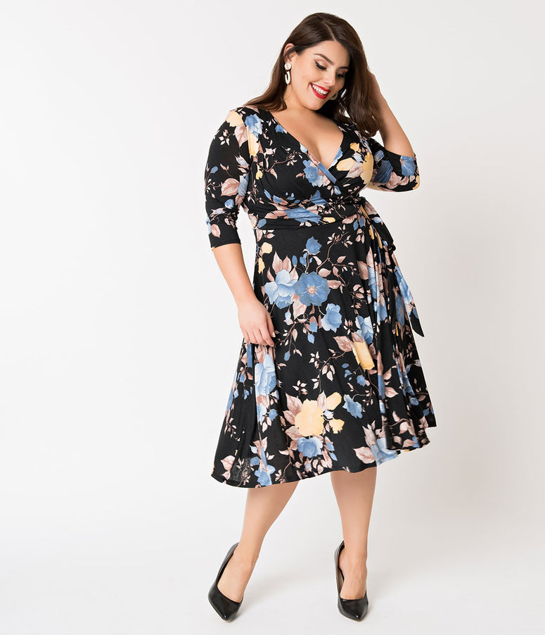 Unique Vintage Plus Size 1940s Style Black & Blue Floral Print Kelsie Wrap Dress