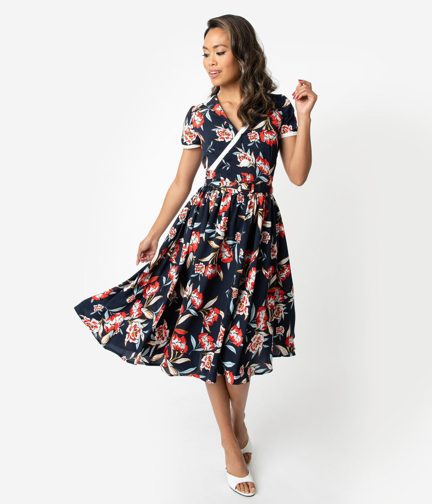 Unique Vintage 1940s Navy & Red Floral Print Paige Swing Dress