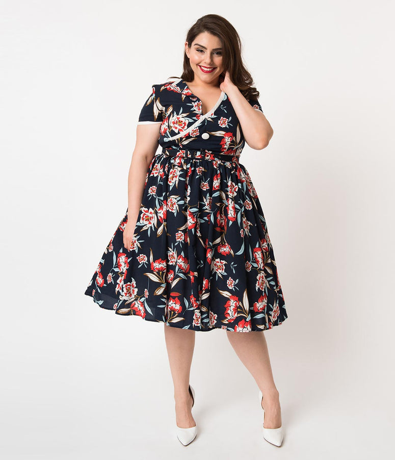 Unique Vintage Plus Size 1940s Navy & Red Floral Print Paige Swing Dress