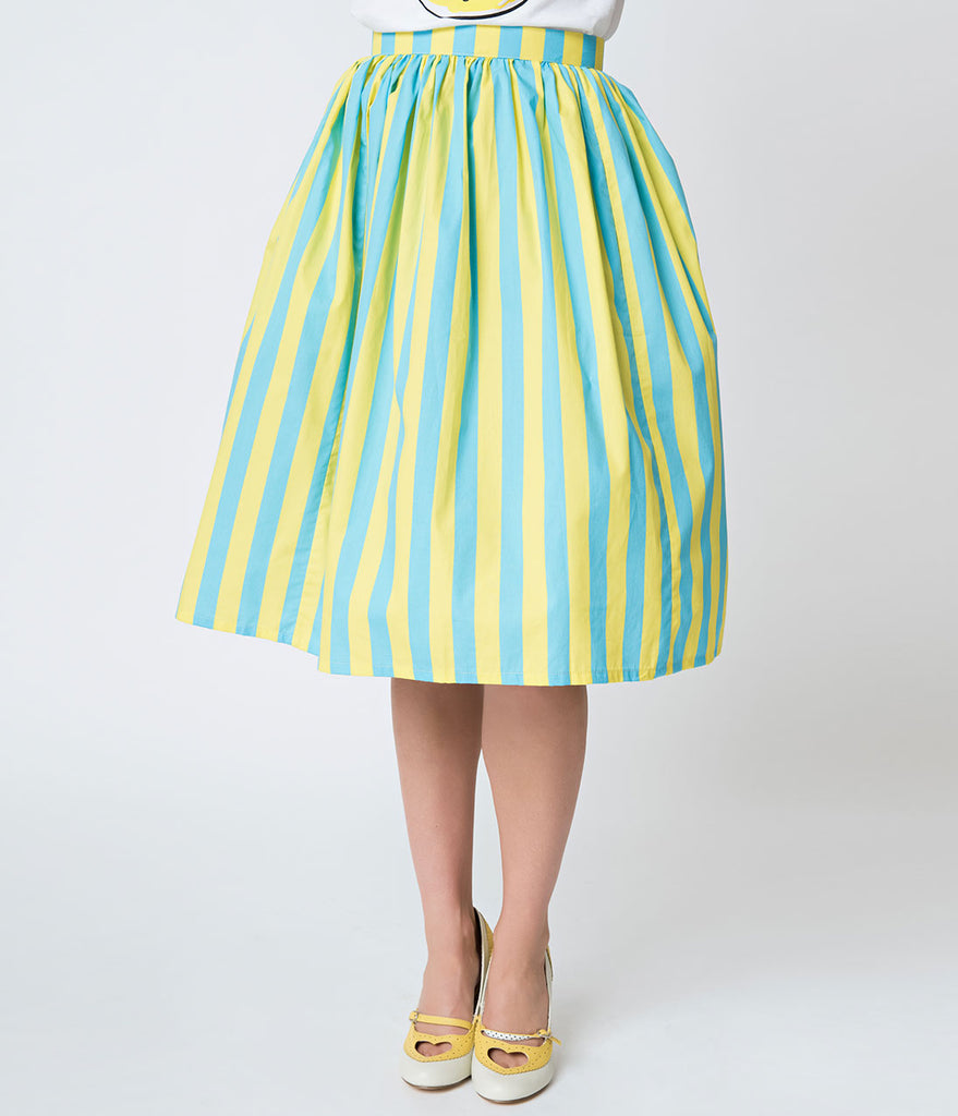 Yellow & Turquoise Blue Striped Gathered Cotton Swing Skirt