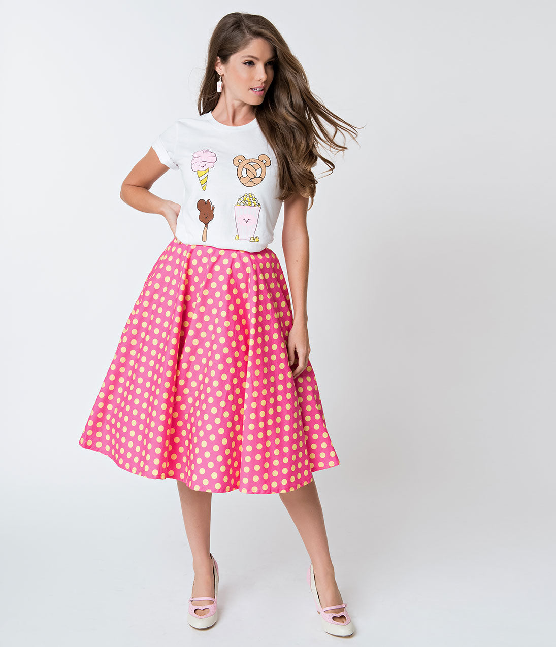 1950s Costumes- Poodle Skirts, Grease, Monroe, Pin Up, I Love Lucy Vintage Style Hot Pink  Yellow Polka Dot Cotton Circle Skirt $48.00 AT vintagedancer.com