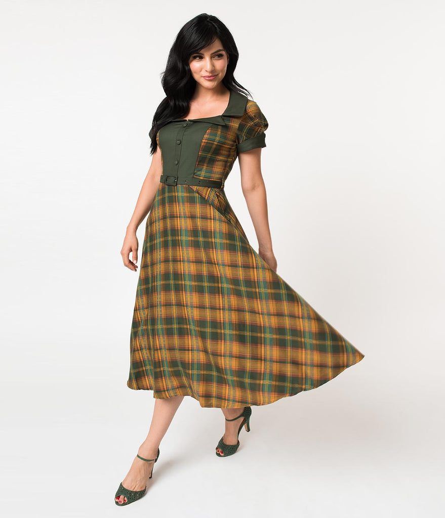 Voodoo Vixen 1940s Yellow & Green Tartan Short Sleeve Ella Tea Dress