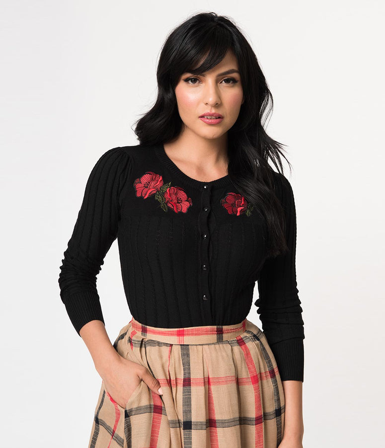 Voodoo Vixen Black Cable Knit & Red Poppy Long Sleeve Faith Cardigan