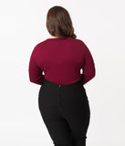 Voodoo Vixen Plus Size Burgundy Stretch Sleeved Bow Tie Melanie Top