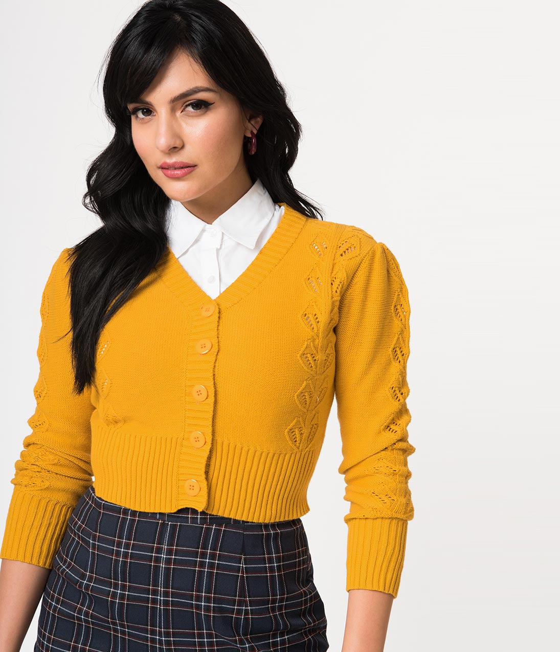 Vintage Sweaters: Cable Knit, Fair Isle Cardigans & Sweaters Voodoo Vixen 1940S Mustard Yellow Cotton Cable Knit Julia Crop Cardigan $58.00 AT vintagedancer.com