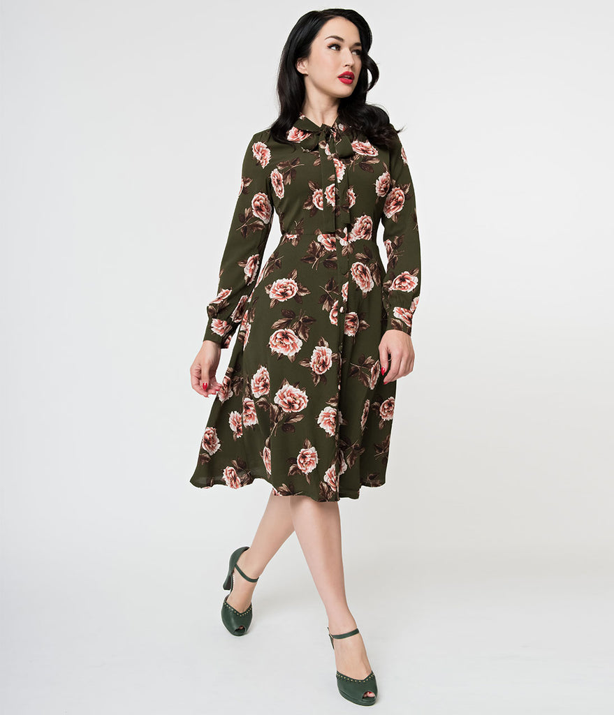 Voodoo Vixen 1930s Olive Green & Pink Floral Crepe Nora Tea Dress