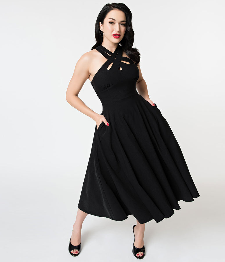 Voodoo Vixen Black Cross Weave Halter Ava Swing Dress