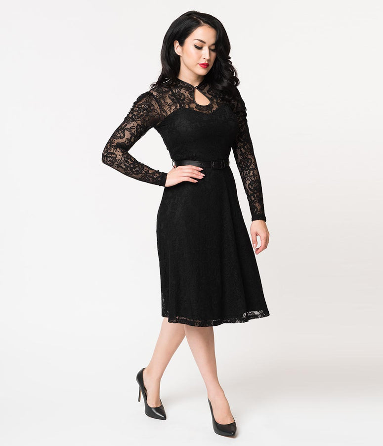 Voodoo Vixen 1940s Style Black Lace Long Sleeve Dita Swing Dress