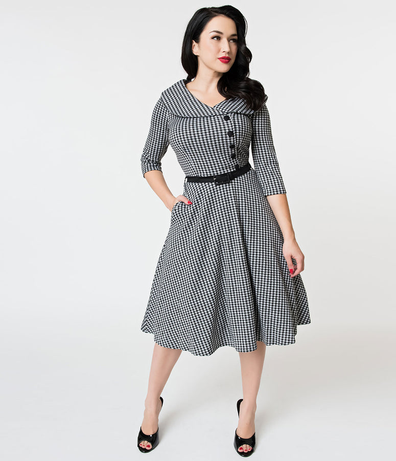 Voodoo Vixen 1950s Black & White Gingham Knit Aubrey Swing Dress