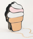 White & Pink Soft Serve Ice Cream Leatherette Crossbody Purse