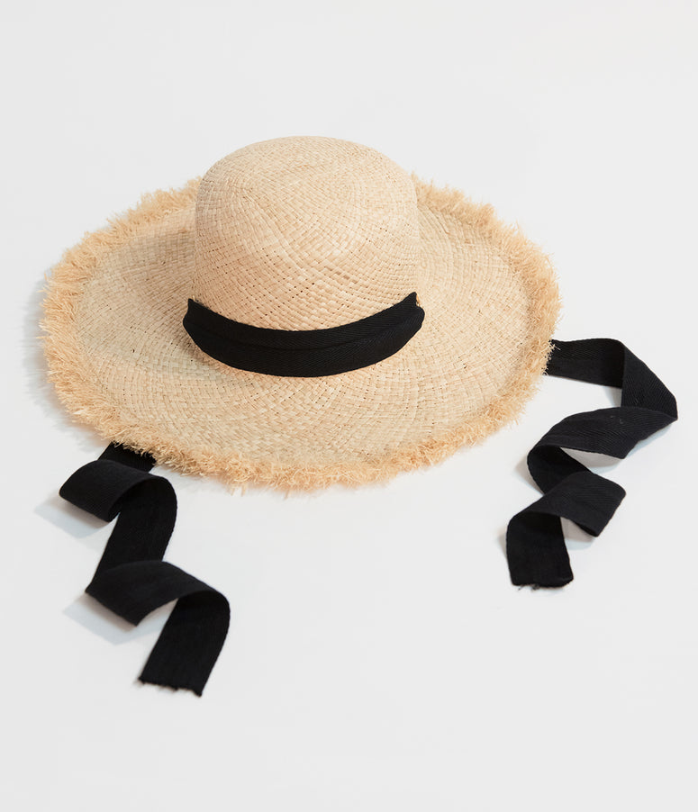 Natural Woven Straw & Black Chin Tie Raffia Hat