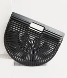 1950s Style Black Bamboo Basket Purse