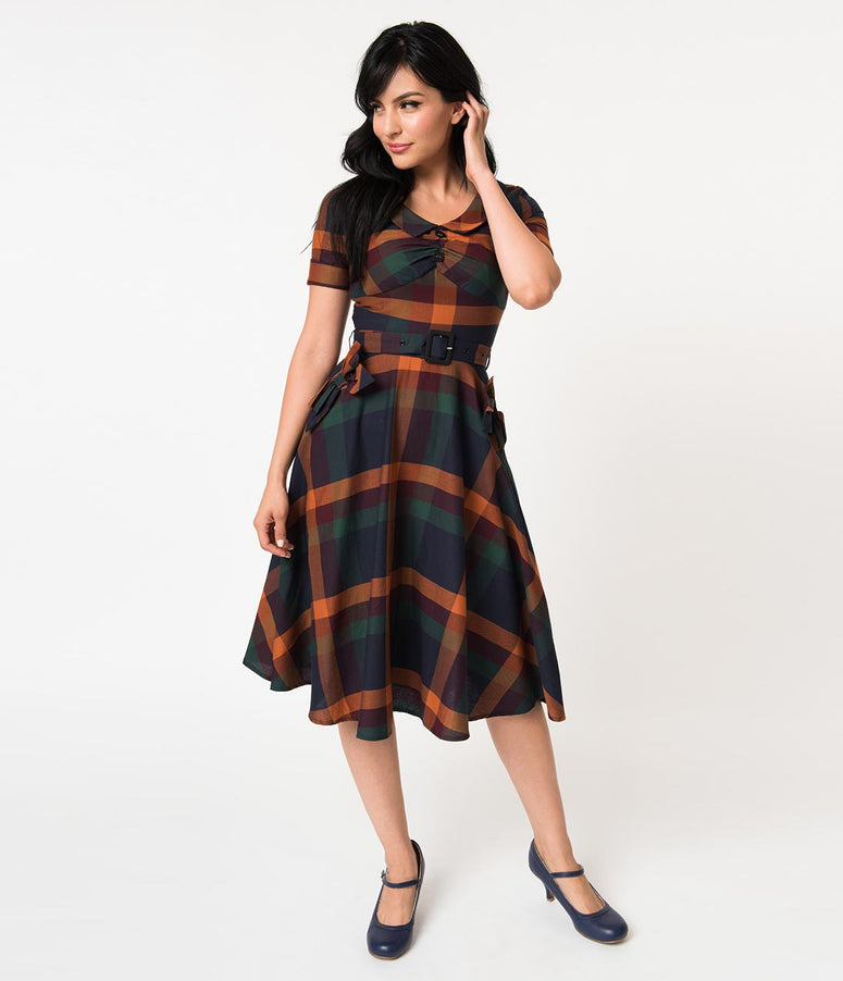 Voodoo Vixen 1940s Navy & Orange Checkered Cotton Samantha Swing Dress
