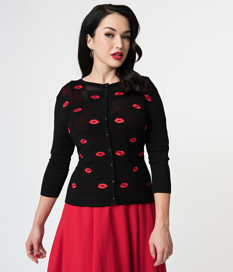 Voodoo Vixen Black & Red Kiss Sleeved Faith Knit Cardigan