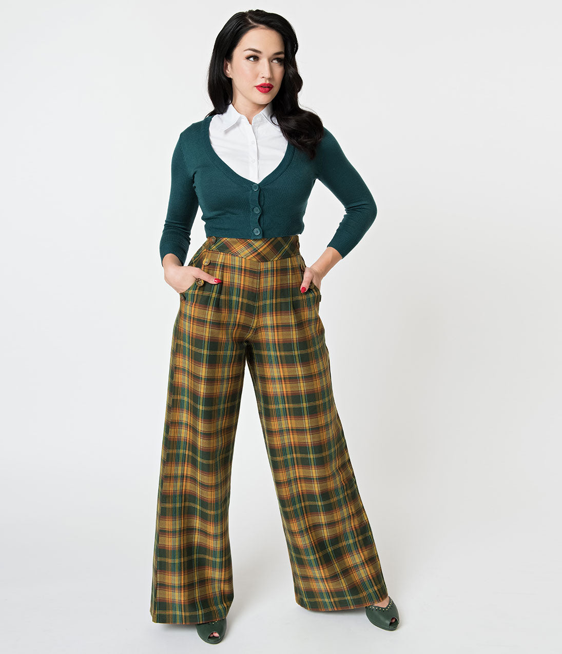1940s Swing Pants & Sailor Trousers- Wide Leg, High Waist Voodoo Vixen 1940S Mustard  Olive Plaid High Waisted Flared Pants $64.00 AT vintagedancer.com