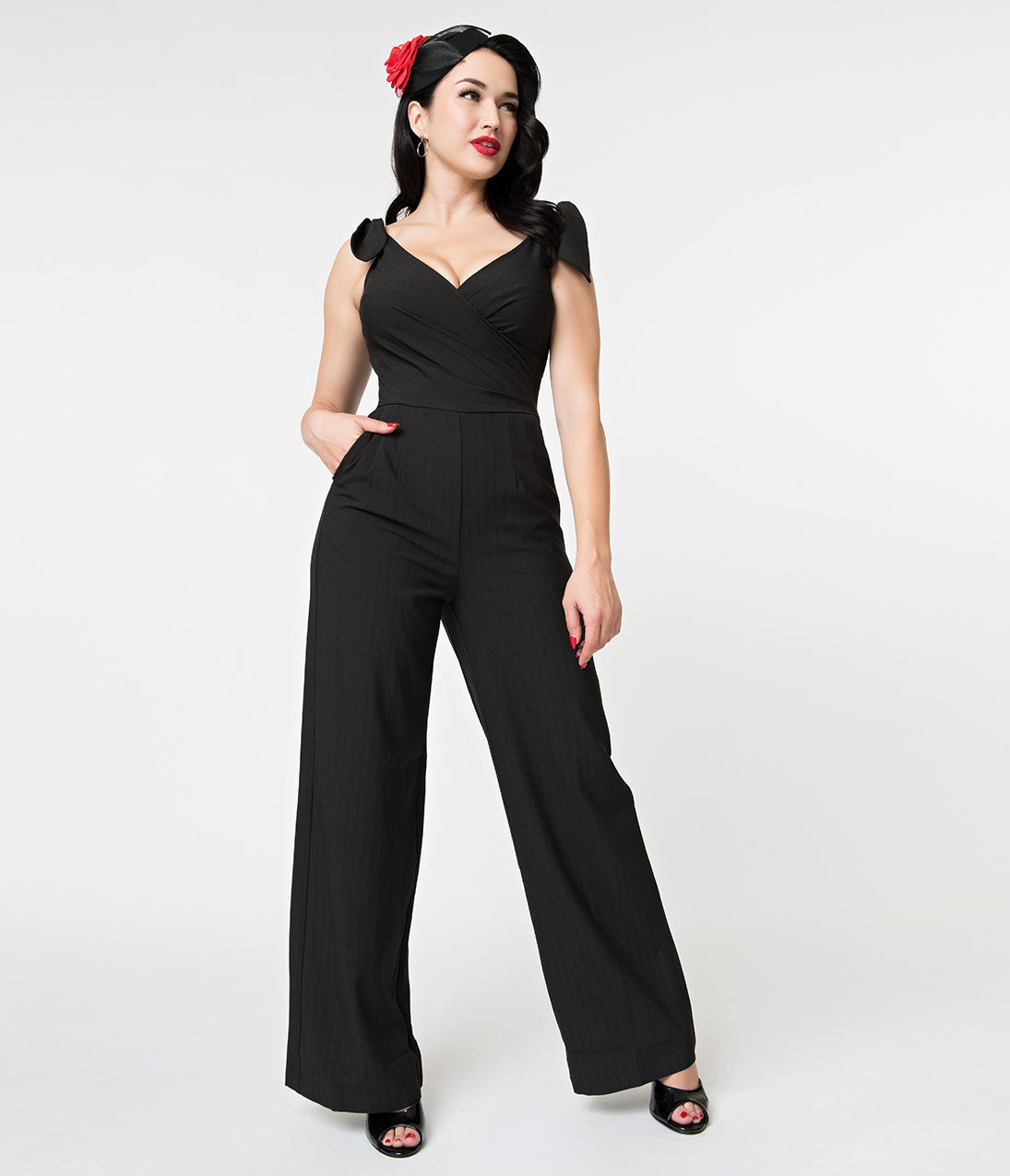 1950s Pants & Jeans- High Waist, Wide Leg, Capri, Pedal Pushers Voodoo Vixen Black Pinstripe Wide Leg Lyla Jumpsuit $96.00 AT vintagedancer.com