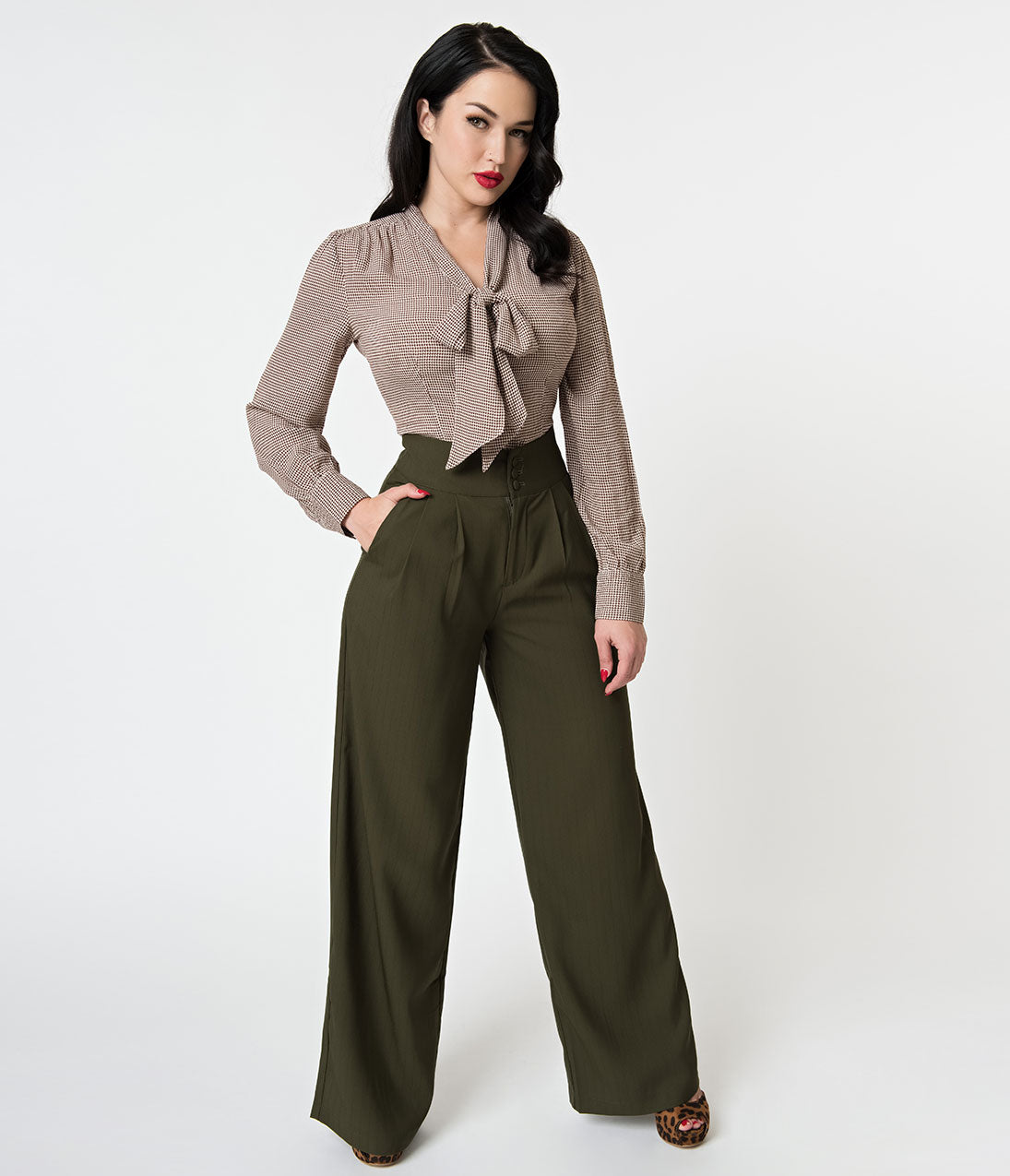 60s – 70s Pants, Jeans, Hippie, Bell Bottoms, Jumpsuits Voodoo Vixen 1940S Style Olive Green Pin Stripe High Waisted Pants $58.00 AT vintagedancer.com