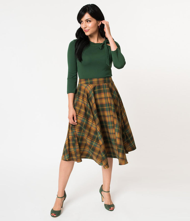 Voodoo Vixen 1950s Green & Yellow Tartan High Waist Swing Skirt