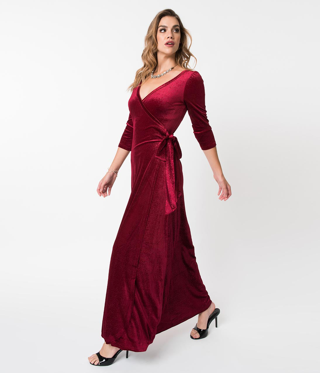 70s Prom, Formal, Evening, Party Dresses Voodoo Vixen Burgundy Crushed Floral Velvet Elizabeth Wrap Maxi Dress $57.00 AT vintagedancer.com
