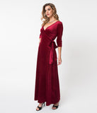 Voodoo Vixen Burgundy Crushed Floral Velvet Elizabeth Wrap Maxi Dress