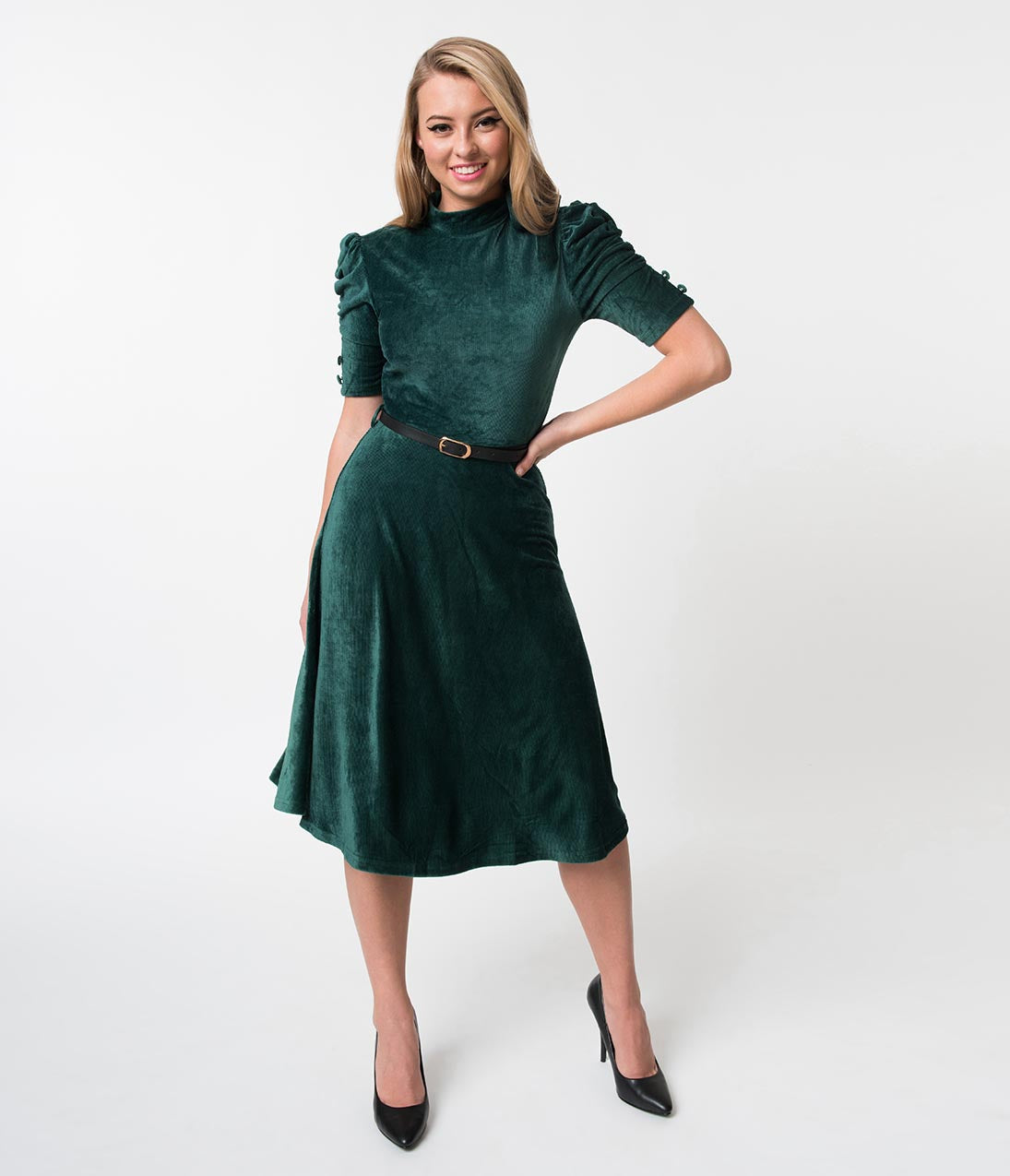 1930s Dresses | 30s Art Deco Dress Voodoo Vixen Emerald Corduroy Velvet High Collar Penelope Dress $48.00 AT vintagedancer.com
