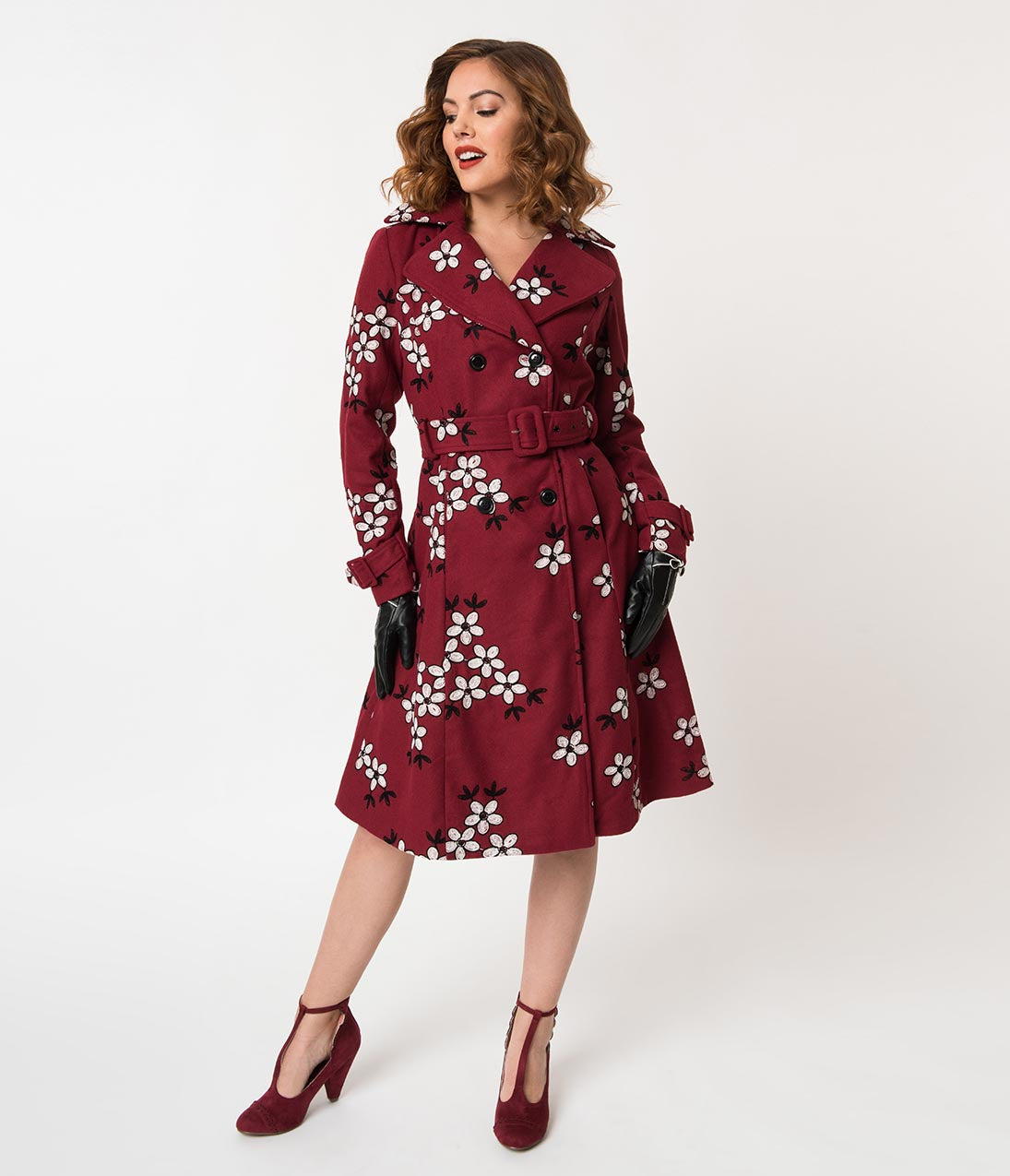1950s Jackets, Coats, Bolero | Swing, Pin Up, Rockabilly Voodoo Vixen Burgundy  Embroidered White Florals Wool Marjorie Coat $94.00 AT vintagedancer.com