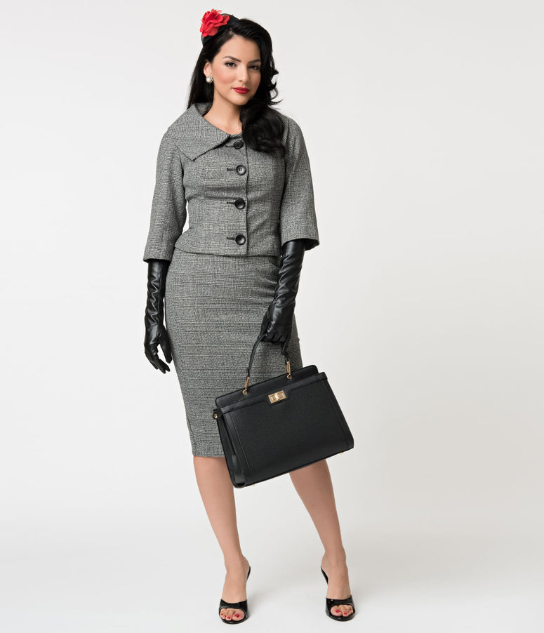 Barbie x Unique Vintage Grey Tweed Career Girl Suit Set