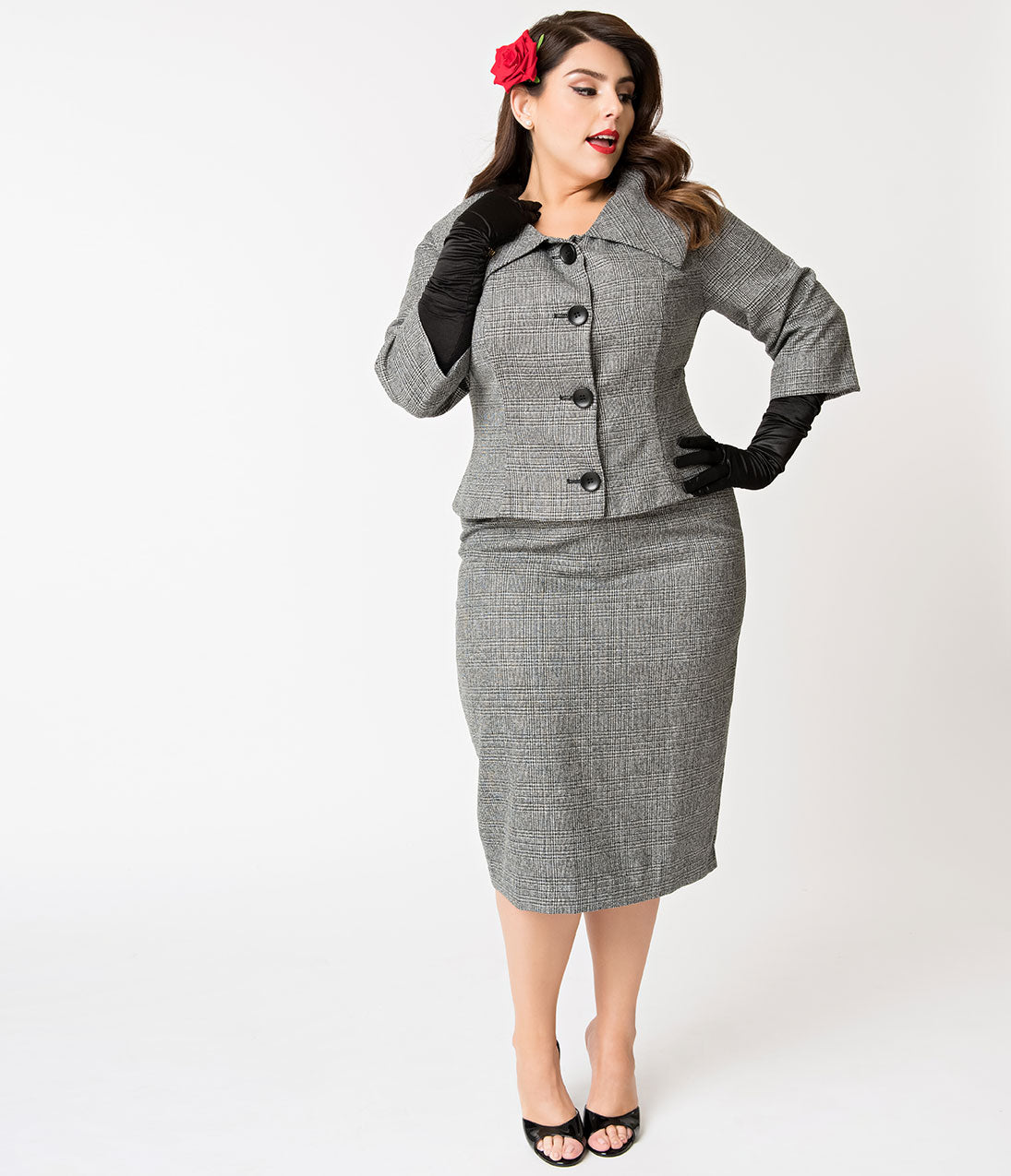 60s 70s Plus Size Dresses, Clothing, Costumes Barbie X Unique Vintage Plus Size Grey Tweed Career Girl Suit Set $188.00 AT vintagedancer.com