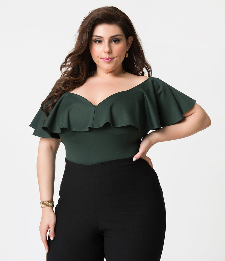 Unique Vintage Plus Size 1950s Emerald Green Off Shoulder Ruffle Frenchie Knit Top