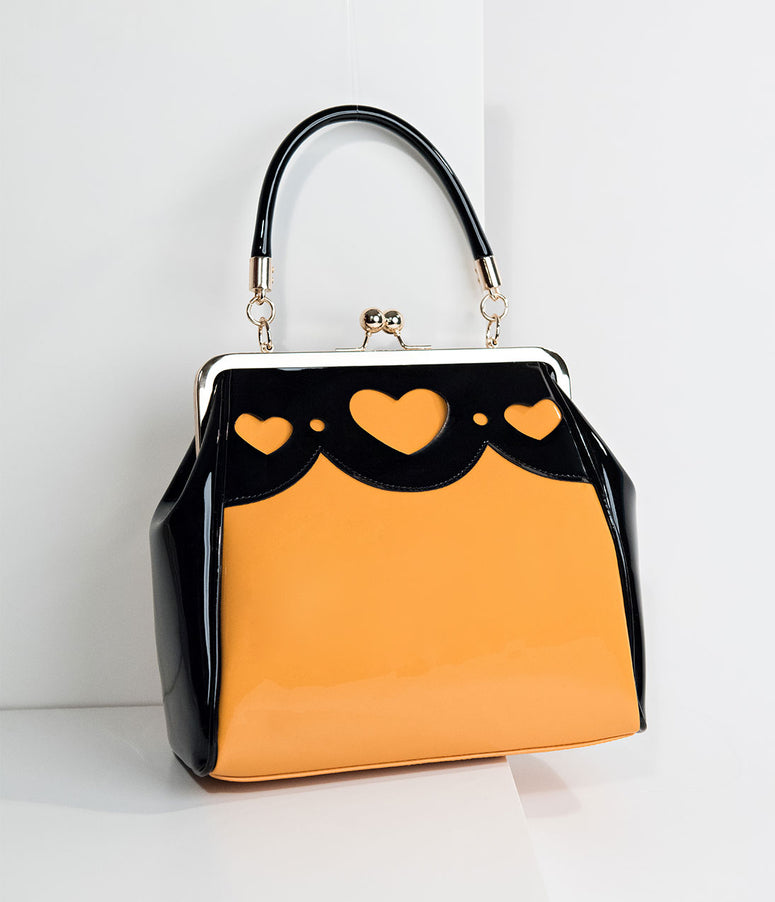 Banned Mustard & Black Patent Leatherette Top Frame Heartbreaker Handbag