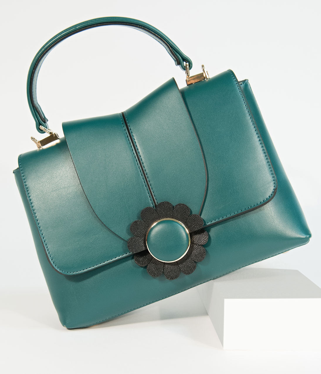 1950s Handbags, Purses, and Evening Bag Styles Banned Emerald Green Leatherette Bellis Handbag $74.00 AT vintagedancer.com
