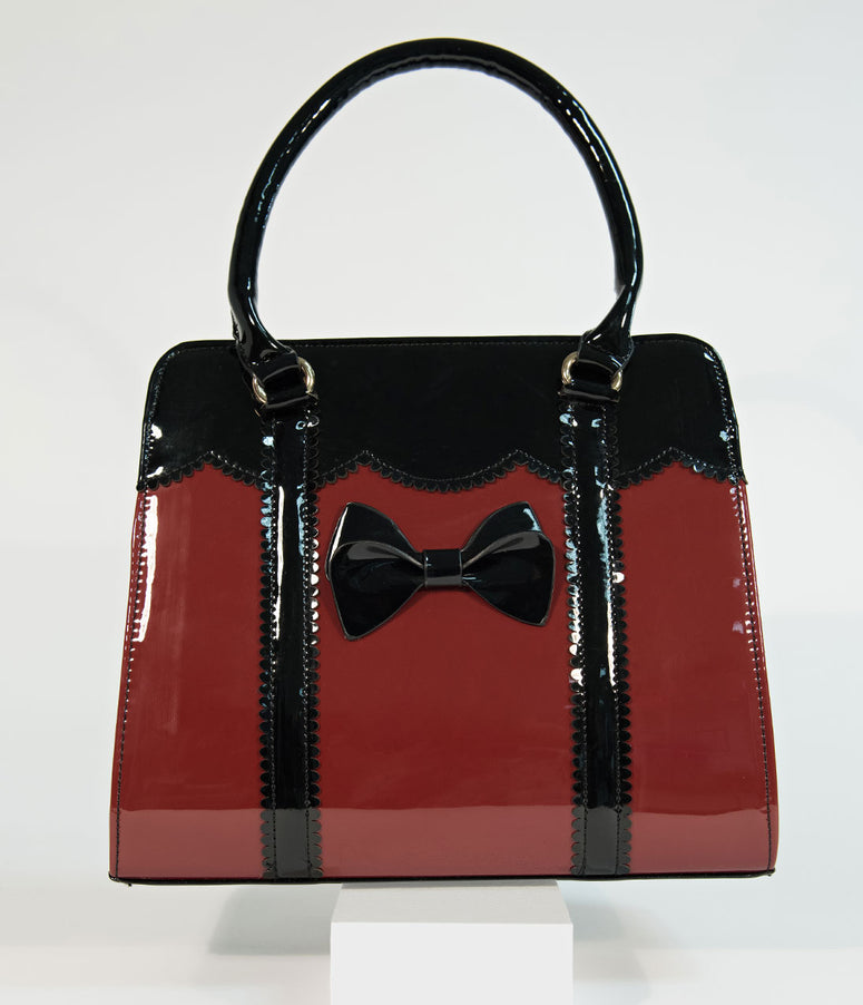 Burgundy Patent Leatherette Juicy Bits Handbag