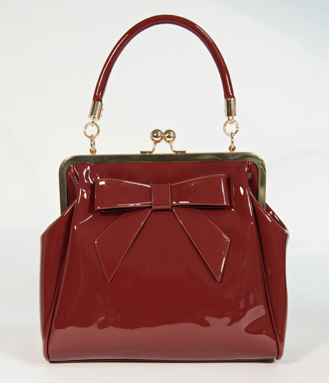 Vintage   Retro Handbags, Purses, Wallets, Bags Banned Burgundy Patent  Leatherette Top Frame 95311e035e