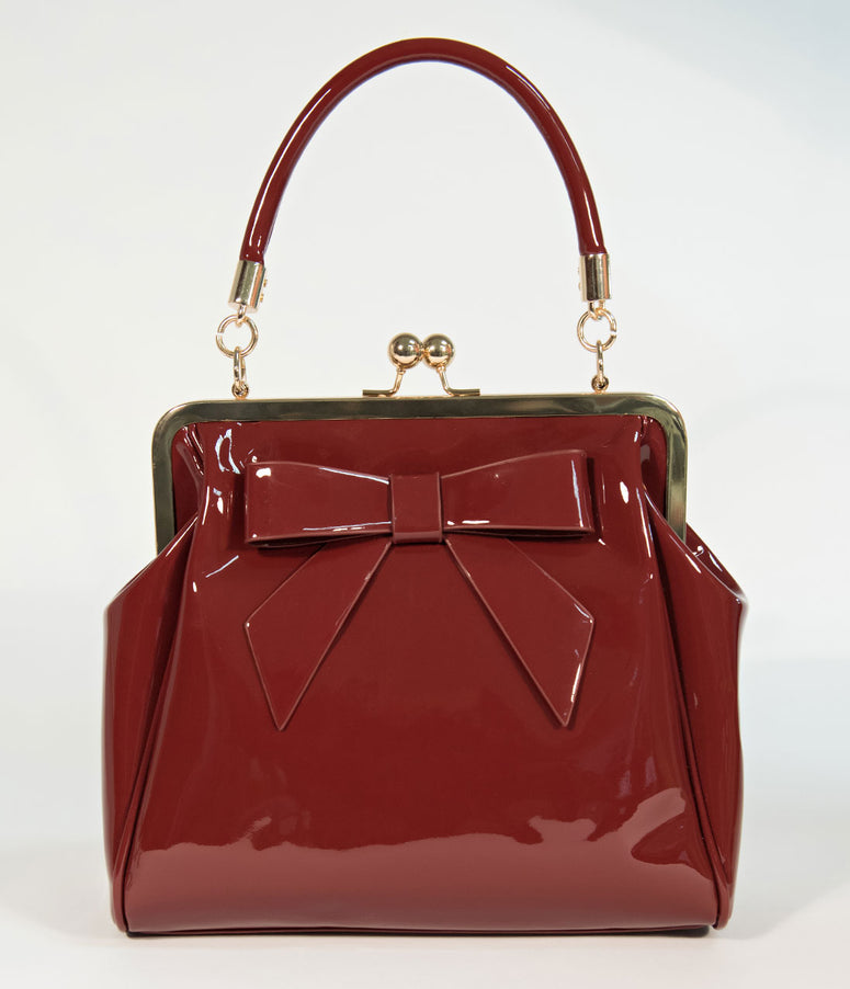 Banned Burgundy Patent Leatherette Top Frame Handbag