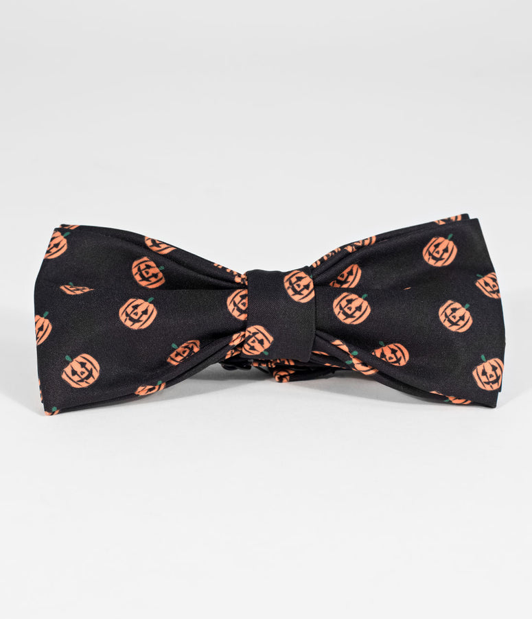Unique Vintage Black & Orange Pumpkin Pre-Tied Bow Tie