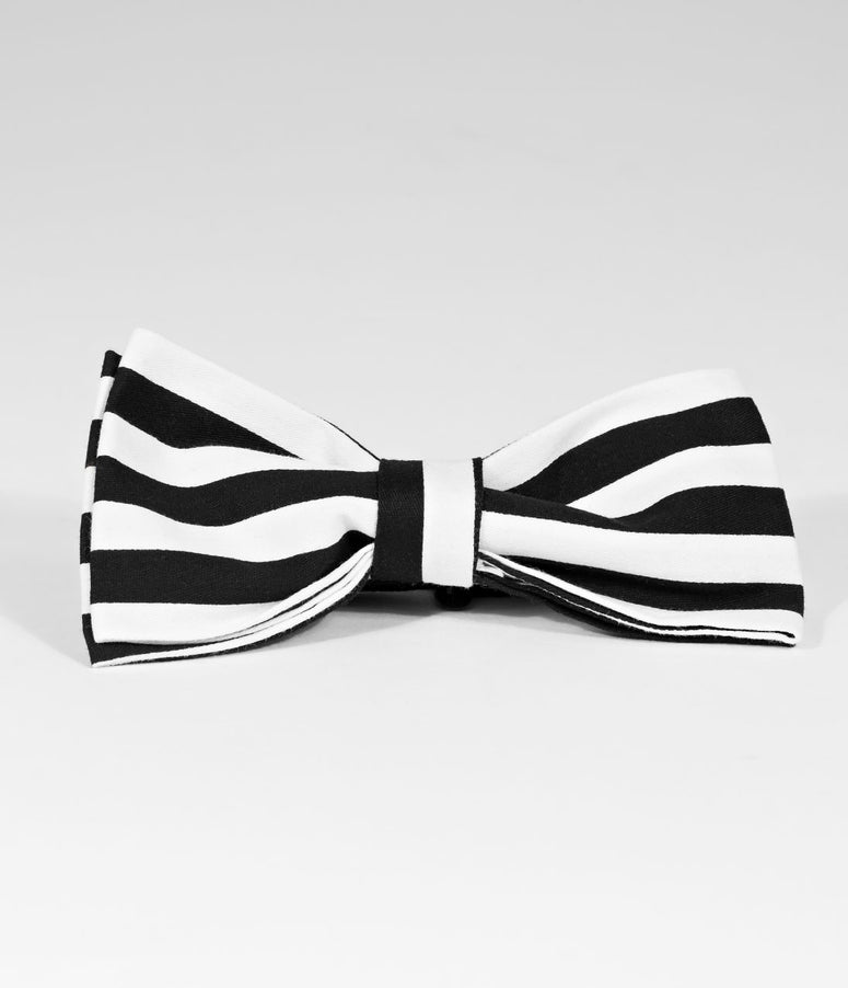 Unique Vintage Black & White Stripe Cotton Pre-Tied Bow Tie